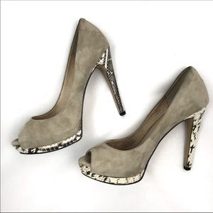 Joan and David suede and snakeskin peep toe